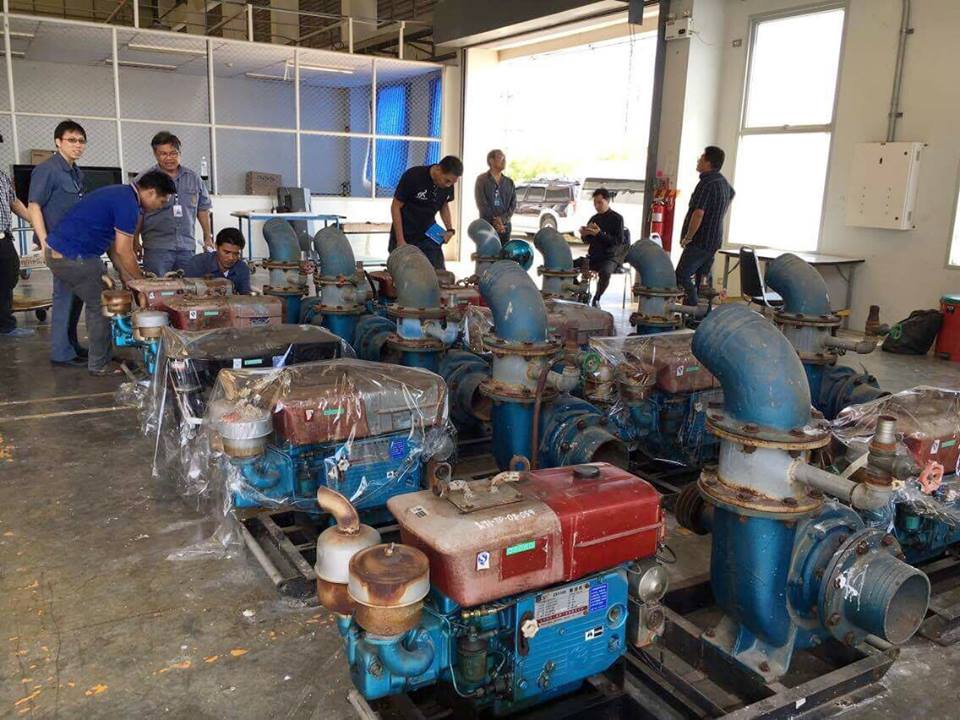 City engineers inspect the warehouse pumps in Nonthaburi Province to determine if they would be suitable for Pattaya's needs.