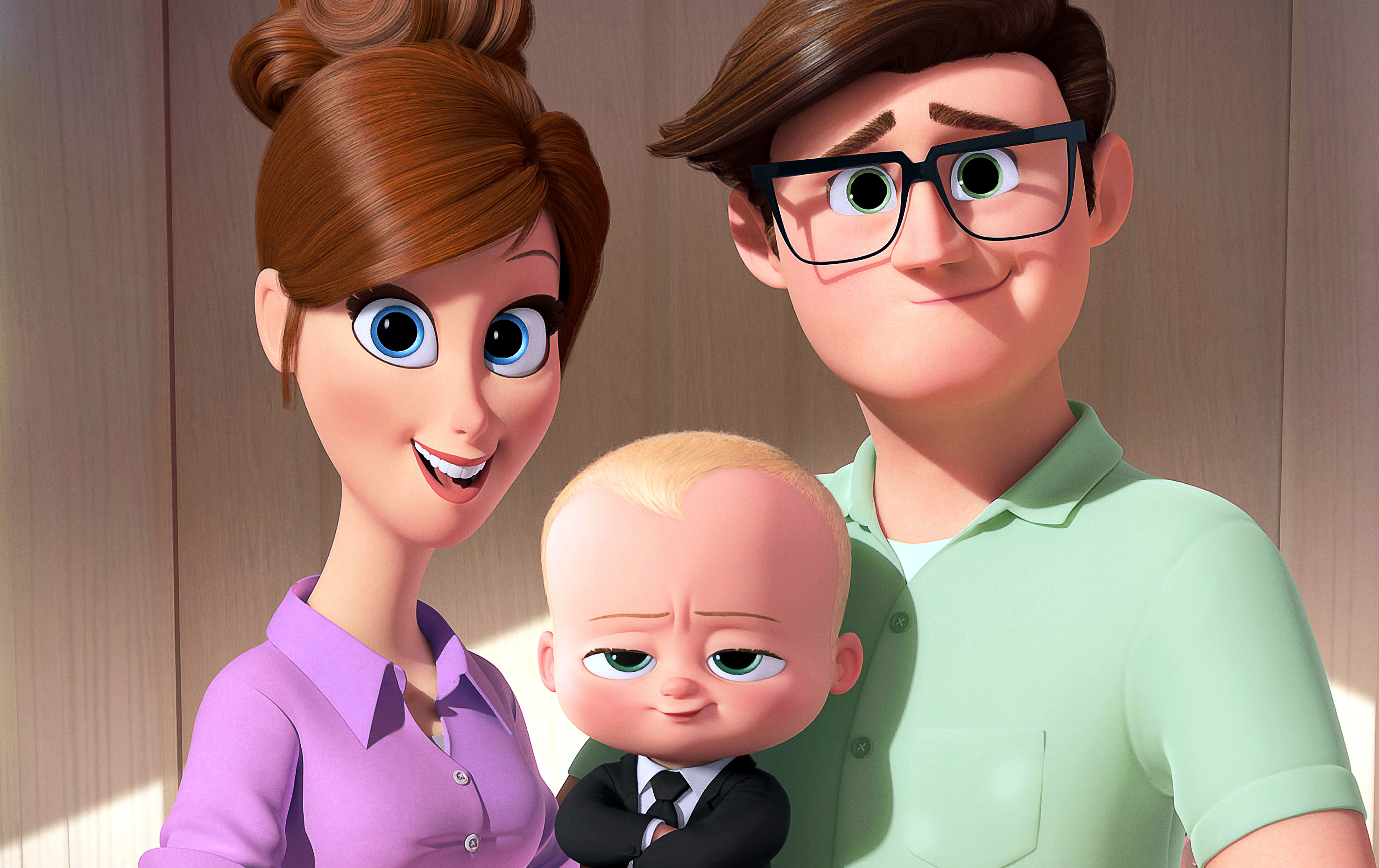 """This image released by DreamWorks Animation shows the characters Mother, voiced by Lisa Kudrow, from left, Boss Baby, voiced by Alec Baldwin, and Father, voiced by Jimmy Kimmel from the animated film, """"The Boss Baby."""" (DreamWorks Animation via AP)"""