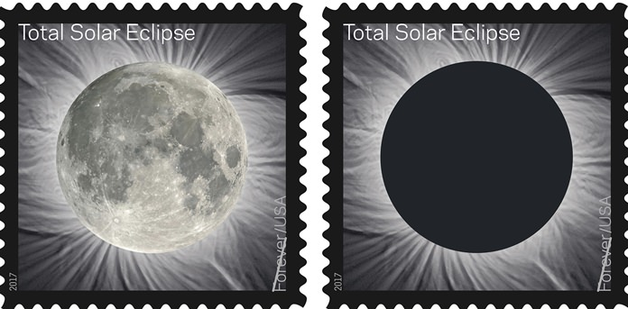 These images provided by the U.S. Postal Service show the Total Solar Eclipse Forever stamp. The Postal Service will soon release a first-of-its-kind stamp that changes when you touch it, which commemorates the Aug. 21 eclipse, transforming into an image of the Moon from the heat of a finger. (U.S. Postal Service via AP)