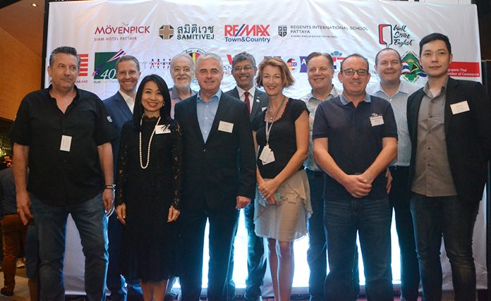 Sponsors (L to R) KC Cuijpers, Managing Partner, Re/Max Town & Country, Marc Sittl, GM Mövenpick Hotel Pattaya, Porntip Utsahaphan, International Marketing Manager of Samitivej Hospital, Chris Thatcher, Vice Chairman BCCT, Paul Scales, President Irish – Thai Chamber, Ragil Ratnam, Chairman South African – Thai Chamber, Joanna Kearney, Director of Admission & Marketing for Regents School International Pattaya, Simon Matthews, Chairman BCCT, Mark Bowling, BCCT Director, Brendan Cunningham, Executive Director AustCham, and Kiatchai Kittitirakorn, Wall Street English.