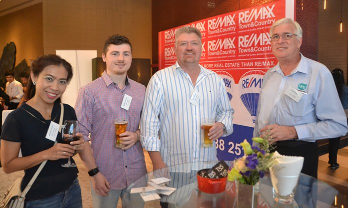 (L to R) Watcharin Holzer from Tinfish Thailand, Matthew Hansen, Mike Hansen, and Frank Holzer, Executive General Manager of MHG Thailand Co., Ltd.