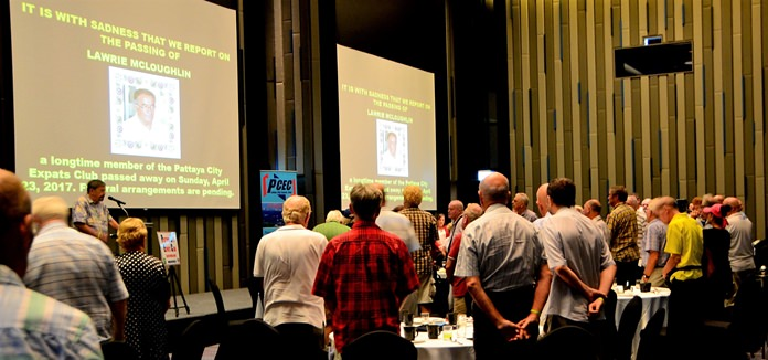 After the speaker presentation, several friends of PCEC long time Governing Board Member Lawrie McLaughlin, who passed away on April 23, gave tribute to him and all stood for a moment of silence in his memory.