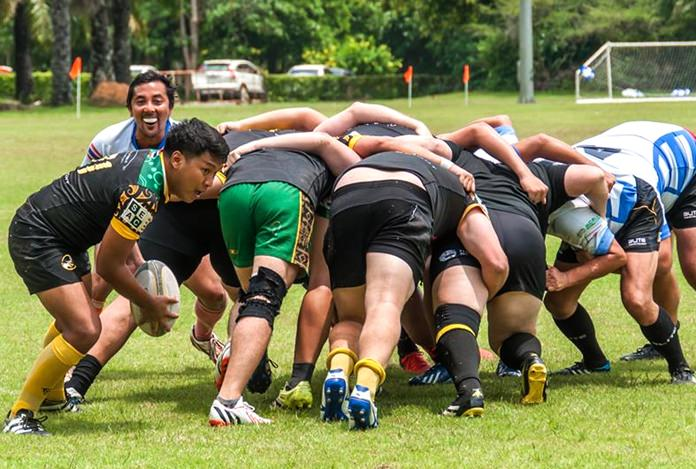 Rival packs clash at the scrum.