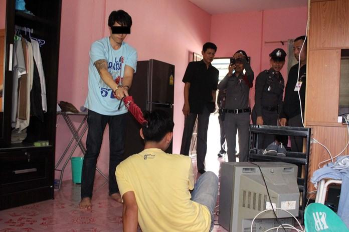 Sorasith Phumkittisawad shows police how he murdered Rachada Anuphab.