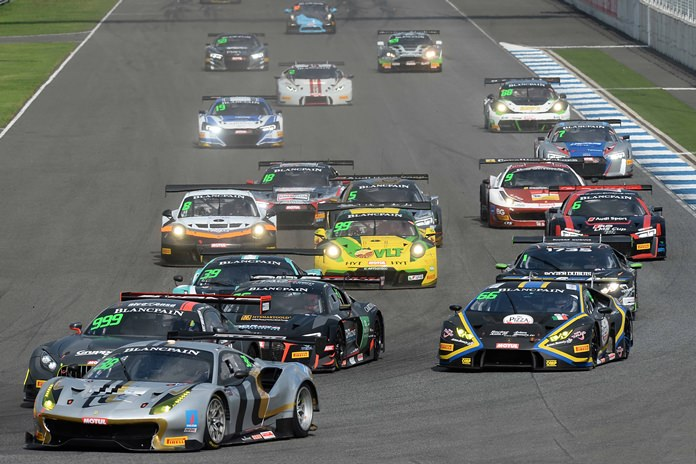 Martin Kodric, driving Lamborghini Huracan GT3 (right), chases the front row pole-sitters into the first corner at the Buriram International Circuit, Saturday, May 20.