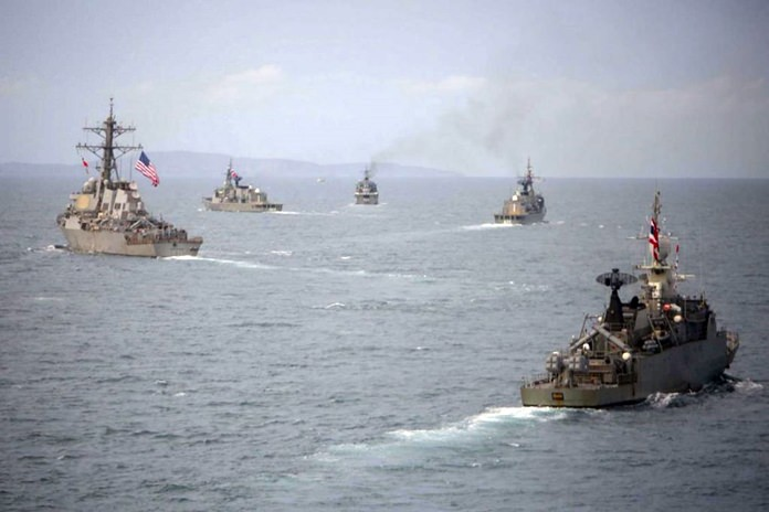 USS Stethem (DDG 63) and ships from the Royal Thai Navy break formation following a maneuvering exercise during CARAT Thailand last year. (Photo: US Navy)