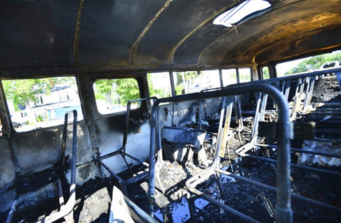 56 students escape school bus fire unhurt