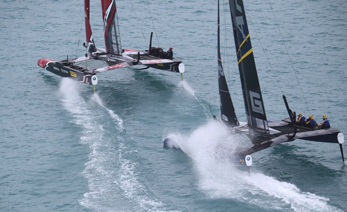 Sweden's Artemis Racing and Emirates Team New Zealand compete during America's Cup challenger semifinals on the Great Sound in Bermuda on Saturday, June 10. (Gilles Martin-Raget/America's Cup Event Authority via AP)