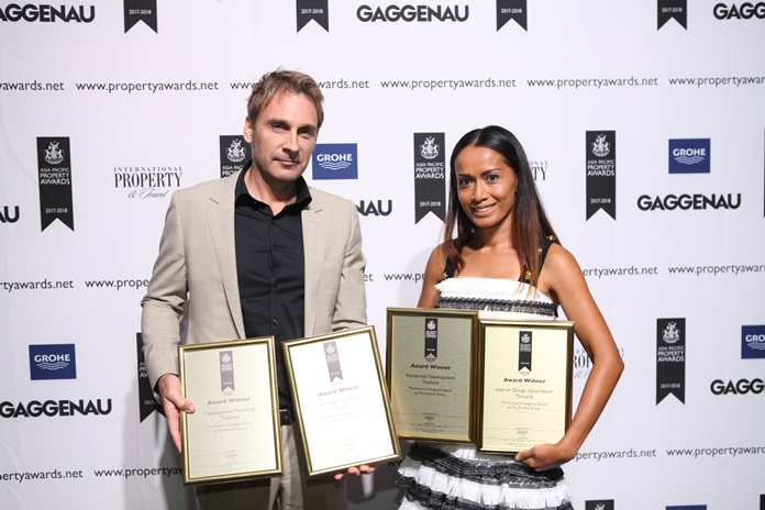 Winston and Sukanya Gale proudly display their awards from left: Development Marketing, Residential High-Rise, Residential Development, and Interior Design Show Home at the Asia Pacific Property Awards 2017-2018 held at the new Marriott Marquis Queen's Park in Bangkok.