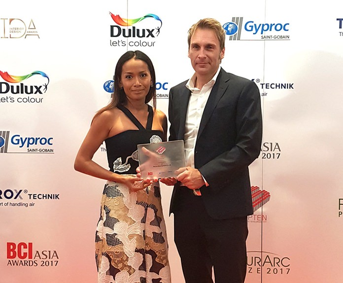 Sukanya and Winston Gale accept the prize for being one of the top ten developers in Thailand during the BCI Asia awards at the Centara Grand, Central World in Bangkok.