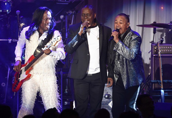 Verdine White (from left), Philip Bailey and Ralph Johnson of Earth, Wind and Fire perform at the Clive Davis Pre-Grammy Gala in Beverly Hills, Calif., Feb. 14, 2016. (Photo by Chris Pizzello/Invision/AP)