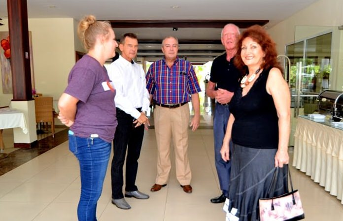(From left) Kathie Mount is welcomed by Honorary Consul Rudolf Hofer, General Manager Rene Pisters, Gerrit Niehaus and Elfi Seitz.