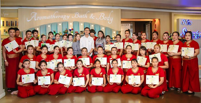 Seventy Pattaya-area residents joined the ranks of massage therapists after winning certification from the Union of Thai Traditional Medicine Society.