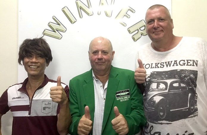 Bob Watson (centre) poses with Torben Lindgaard (right) and 'wig' wearer Fred Tam.