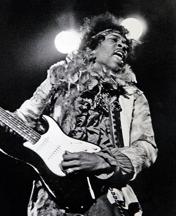 Jimi Hendrix performs at the Monterey Pop Festival in Monterey, Calif., June 18, 1967. (Monterey Herald via AP)
