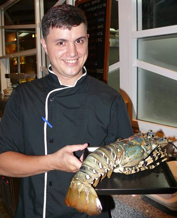 Chef Slava and a rather large lobster.