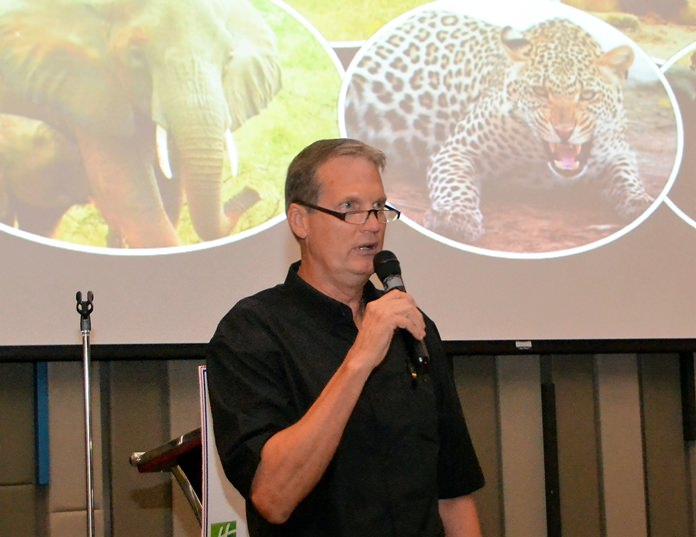 Member George Wilson introduces his photo presentation covering his recent 15 day African Safari Trip. He then provided a very entertaining and informative narrative to accompany the many photos.