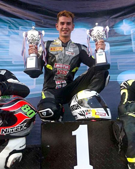 Pattaya based superbike rider Ben Fortt poses with his trophies after his double success at the Thailand International Circuit in Nakhon Chai si.