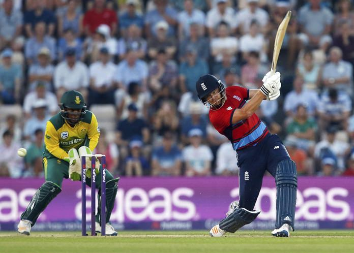 England's Jonny Bairstow bats during the T20 cricket match between England and South Africa at the Ageas Bowl, Southampton, England, Wednesday, June 21. (Paul Harding/PA via AP)