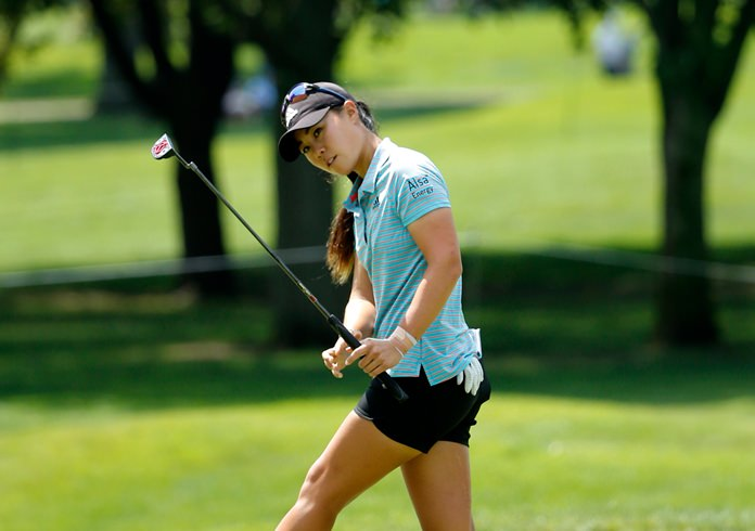 Danielle Kang reacts to her birdie attempt on the 10th green during the second round of the Women's PGA Championship golf tournament at Olympia Fields Country Club Friday, June 30. (AP Photo/Charles Rex Arbogast)