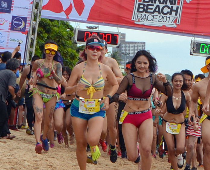 Participants race from the start line.