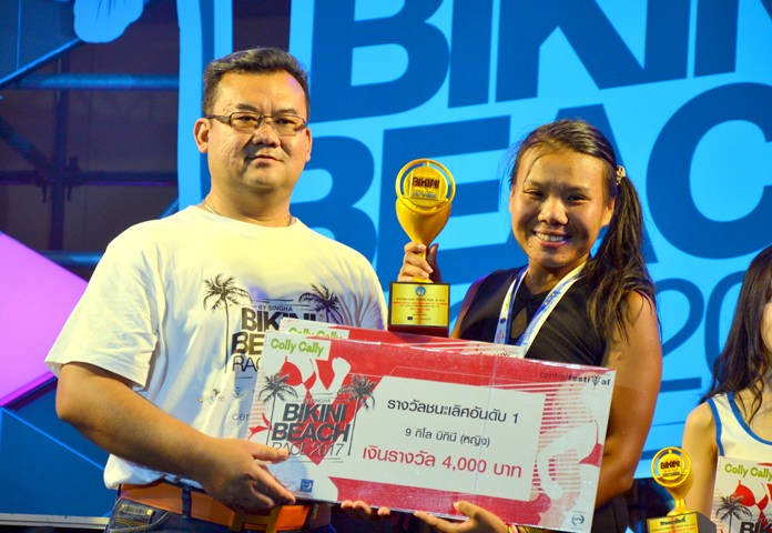 Jarin Phatamas (right) won the women's 9km bikini run and mini-marathon.