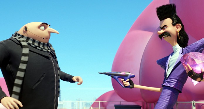 """This image shows characters Gru, voiced by Steve Carell (left) and Balthazar Bratt, voiced by Trey Parker, in a scene from """"Despicable Me 3."""" (Illumination and Universal Pictures via AP)"""