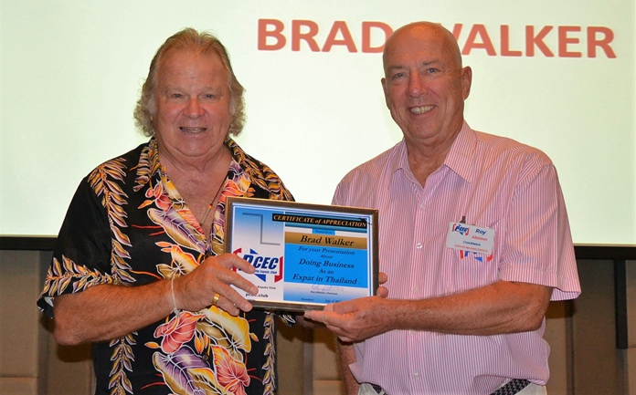 Roy Albiston presents Brad Walker with the PCEC's Certificate of Appreciation for his interesting and often humorous presentation.