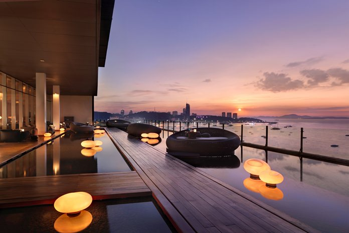 An evening view from Drift, part of Hilton Pattaya's award winning hotel.
