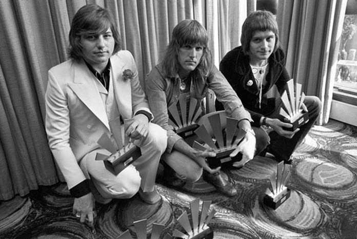 This Sept. 30, 1972 file photo shows (from left) Greg Lake, Keith Emerson and Carl Palmer of the rock band Emerson, Lake and Palmer. (AP Photo)