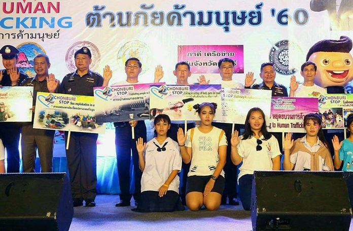 """Chonburi and Pattaya marked Anti-Trafficking Day with a parade touting Thailand's """"tough"""" laws, even as the U.S. criticized the country for a lack of progress in the past year."""
