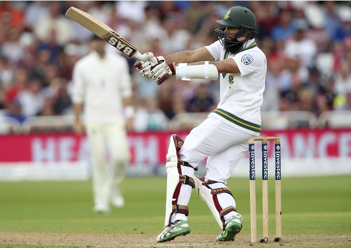 South Africa's Hashim Amla hits out during day three of the Second Test match against England, at Trent Bridge, Nottingham, England, Sunday July 16. (Nick Potts/PA via AP)