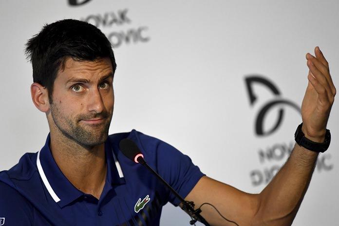 Tennis player Novak Djokovic gestures during a press conference in Belgrade, Serbia, Wednesday, July 26. (Andrej Isakovic, Pool Photo via AP)