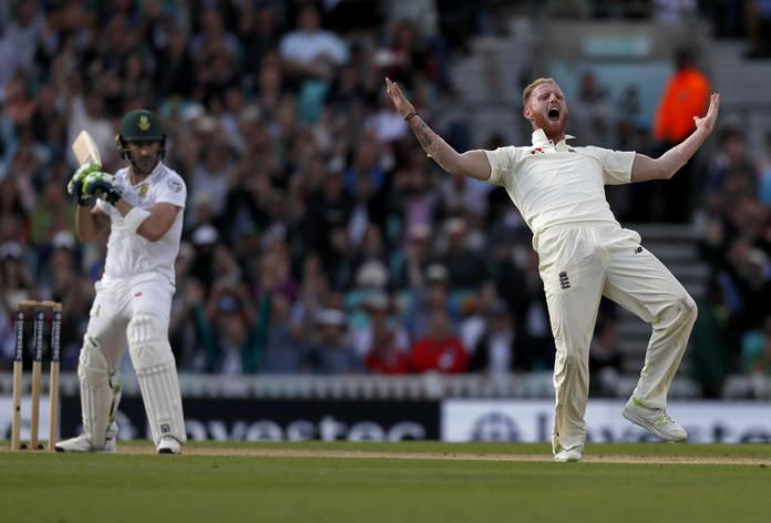 England's Ben Stokes celebrates taking the wicket of South Africa's Faf du Plessis, left, on the fourth day of the third test match at The Oval cricket ground in London, Sunday, July 30. (AP Photo/Kirsty Wigglesworth)