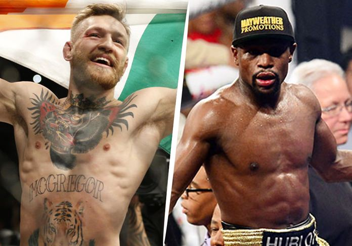 UFC superstar Conor McGregor, left, and undefeated boxing legend Floyd Mayweather Jr. are shown in this composite image. (AP Photo)