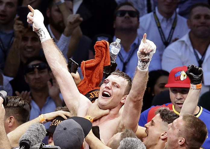 Jeff Horn, of Australia, celebrates after beating Manny Pacquiao, of the Philippines, during their WBO World Welterweight title fight in Brisbane in this July 2, 2017, photo. (AP Photo/Tertius Pickard)