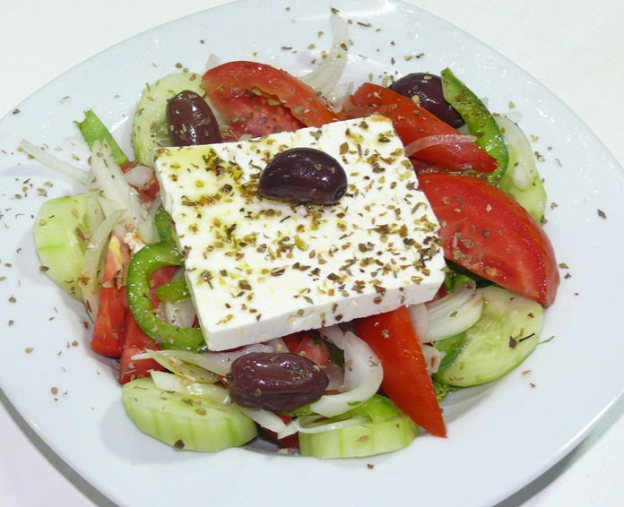 Greek salad with feta cheese.