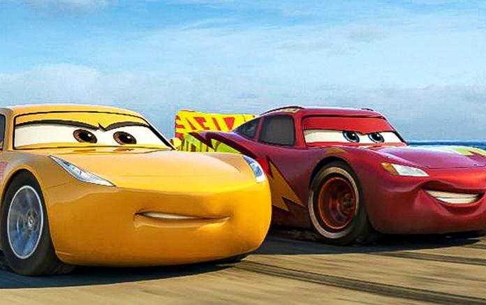 "This image shows Lightning McQueen, voiced by Owen Wilson (right) and Cruz Ramirez, voiced by Cristela Alonzo in a scene from ""Cars 3."" (Disney-Pixar via AP)"