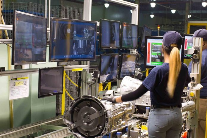 This undated photo provided by AW North Carolina shows production operations inside the company's Durham, N.C., factory. Malware entered the North Carolina transmission plant's computer network via email last August, spreading like a virus and threatening to lock up the production line until the company paid a ransom. They refused and no money was paid. (AW North Carolina via AP)