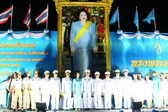 Pattaya's main commemoration took place Aug. 12 at the King Rama V monument outside the Banglamung District office.