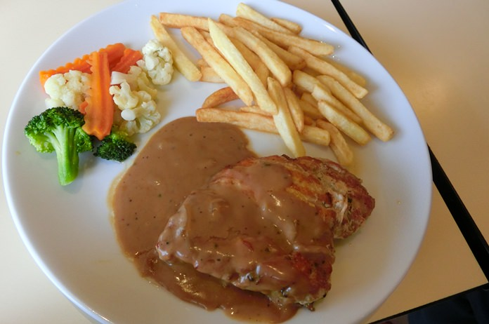 A good sized chicken steak.