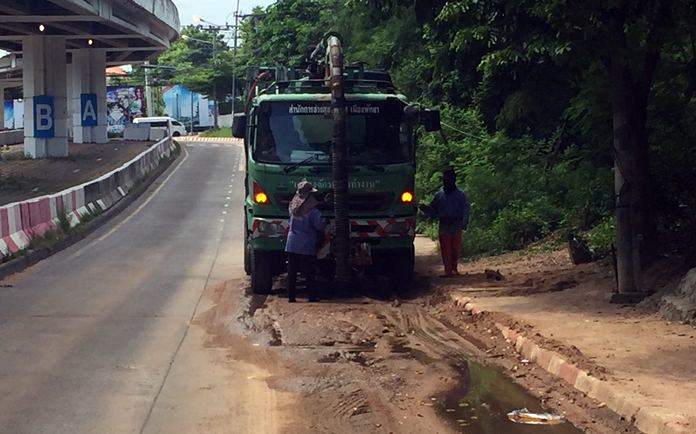 City hall has mopped up the unsightly mud puddles near Bali Hai Pier.