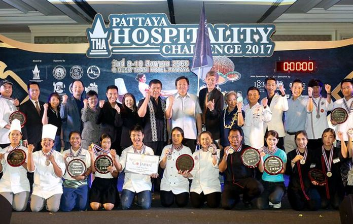 Event winners and organizers pose for a photo at the conclusion of the Pattaya Hospitality Challenge 2017.