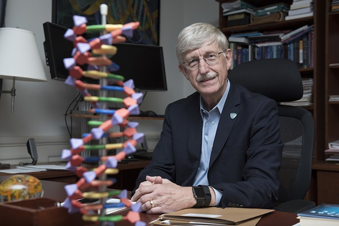 National Institutes of Health (NIH) Director Francis Collins poses for a portrait at the NIH headquarters in Bethesda, Md., Friday, July 28, 2017. After DNA testing showed he was predisposed to Type 2 diabetes, which is more likely to develop if a person is overweight or obese, Collins shed 35 pounds (16 kilograms). (AP Photo/Sait Serkan Gurbuz)