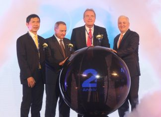 (l to r) Vorapong Assavaniwej, President of Sangchai Group; Thomas Zofkie, Vice President of Asia Operations, Emerson Commercial & Residential Solutions; Jim Lindemann, Executive Vice President Chief Operating Officer of Emerson Commercial & Residential Solutions; and David Nardone, Executive Director WHA Corporation Public Company Limited kick off 20th anniversary celebration.