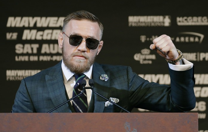 Conor McGregor speaks during a news conference Wednesday, Aug. 23, in Las Vegas. McGregor is scheduled to fight Floyd Mayweather Jr. in a boxing match on Saturday. (AP Photo/John Locher)
