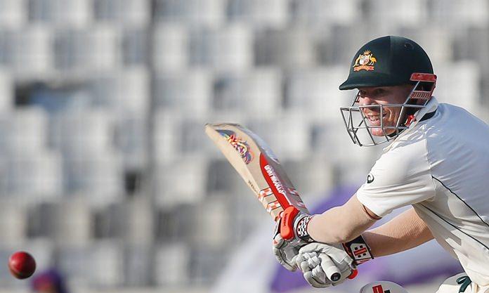 Australia's David Warner plays a shot during the third day of the first test against Bangladesh in Dhaka, Bangladesh, Tuesday, Aug. 29. (AP Photo/A.M. Ahad)