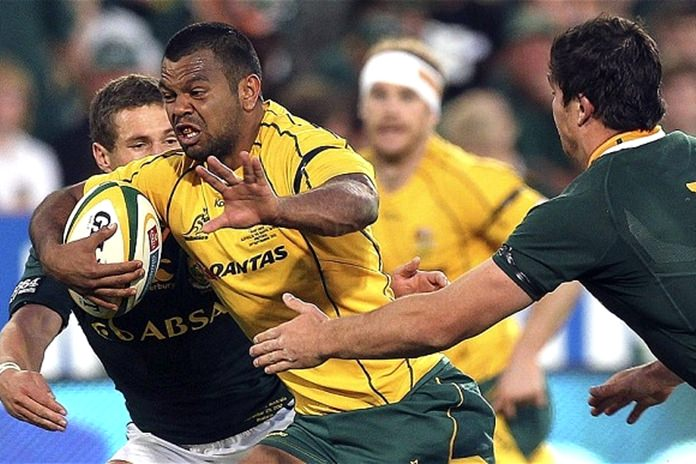 Australian center Kurtley Beale, 2nd left, is back in the Wallabies squad to face the New Zealand All Blacks on August 19. (AP Photo)