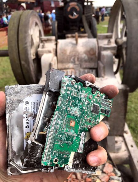 Terry Pratchett's hard drive containing unpublished works was crushed by a steamroller as per his will.