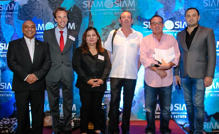 (L to R) Abhijit Datta, CEO of ISS Facility Services; Charles Rowe, Head of Admissions at Rugby School Thailand; Salisa Ruttakara, Manager Marketing Department Go General Outsourcing; Karl St. George, CEO Axcel Electronics; Mark Bowling, Director British Chamber of Commerce Thailand; and Dmitry Chernyshev, General Manager, Siam@Siam Design Hotel Pattaya.